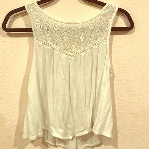 White Crochet Lace-Panel Tank Top Blouse